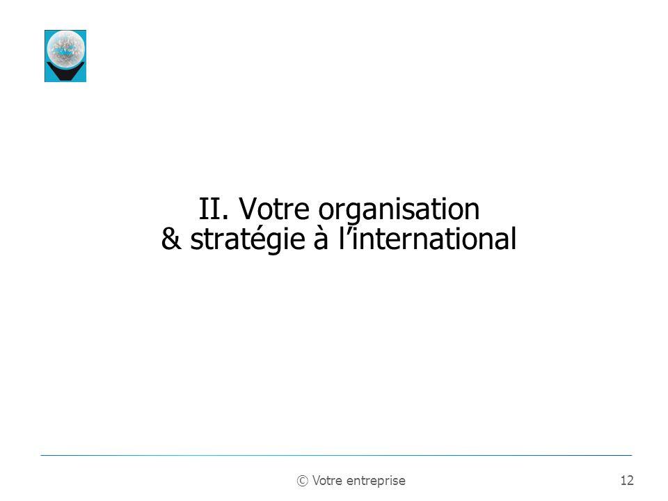 II. Votre organisation & stratégie à l'international