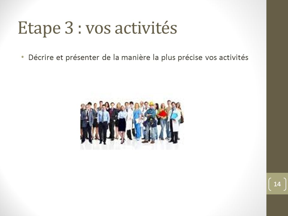 Etape 3 : vos activités Décrire et présenter de la manière la plus précise vos activités