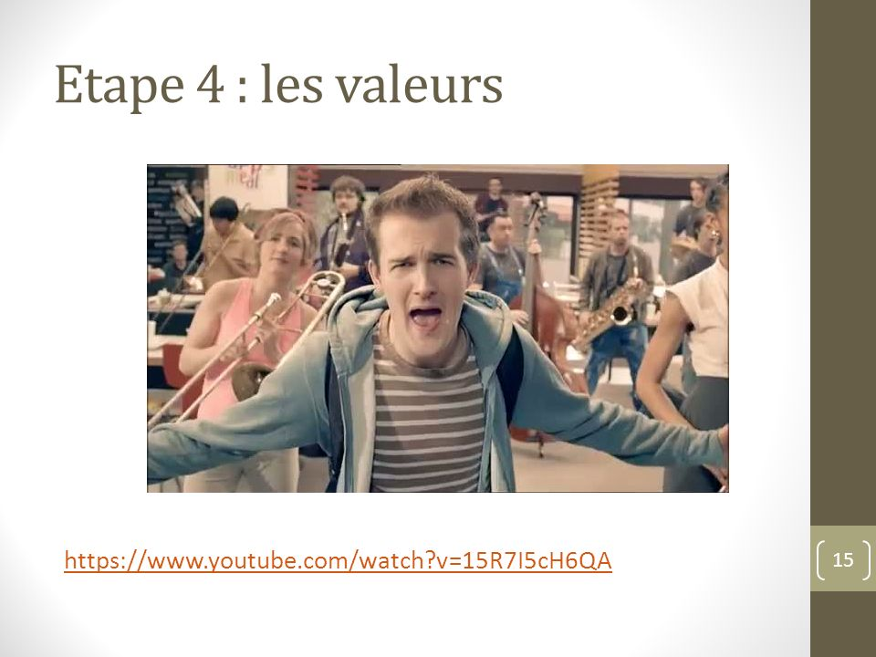 Etape 4 : les valeurs https://www.youtube.com/watch v=15R7I5cH6QA