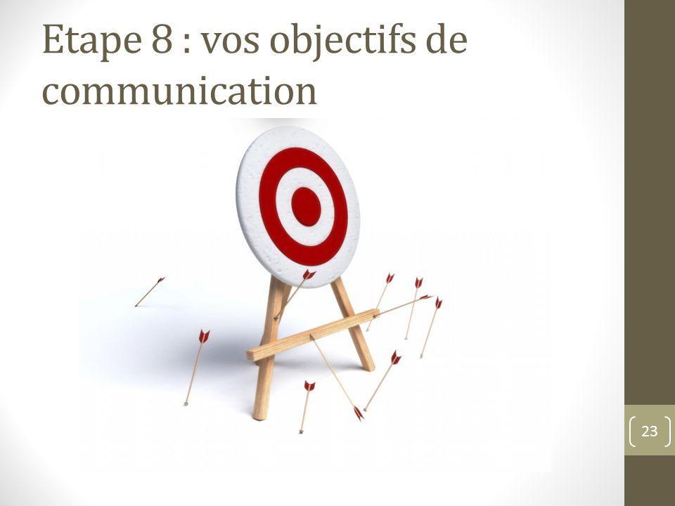 Etape 8 : vos objectifs de communication