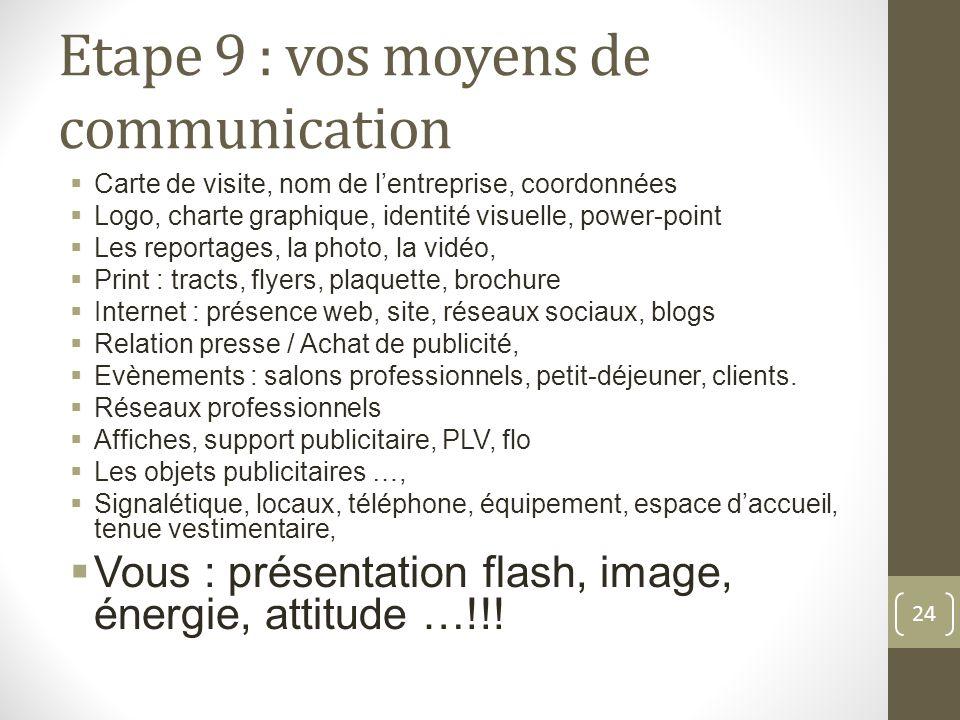Etape 9 : vos moyens de communication