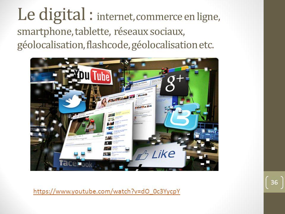 Le digital : internet, commerce en ligne, smartphone, tablette, réseaux sociaux, géolocalisation, flashcode, géolocalisation etc.