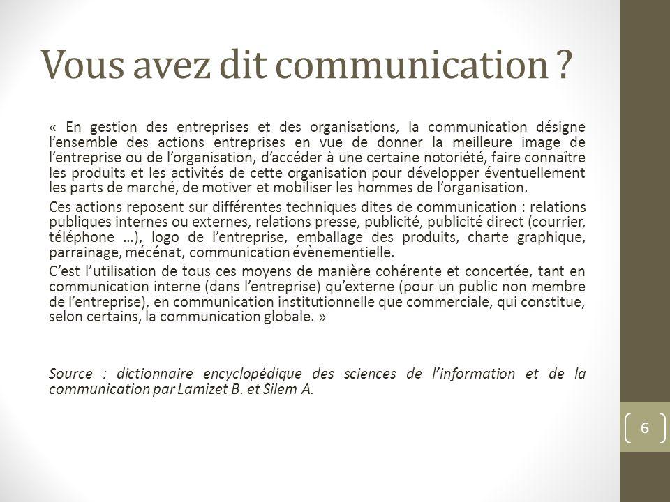 Vous avez dit communication