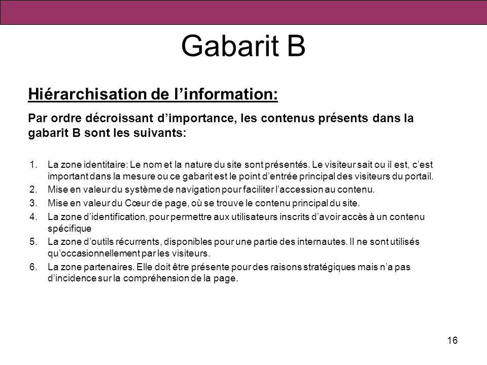 Gabarit B Hiérarchisation de l'information: