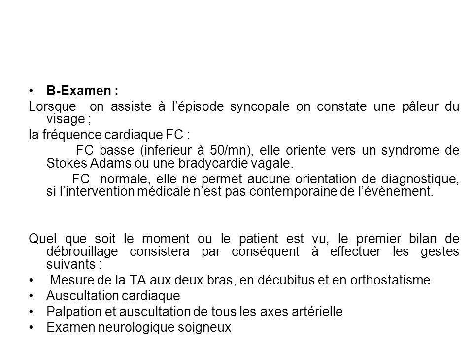 B-Examen : Lorsque on assiste à l'épisode syncopale on constate une pâleur du visage ; la fréquence cardiaque FC :