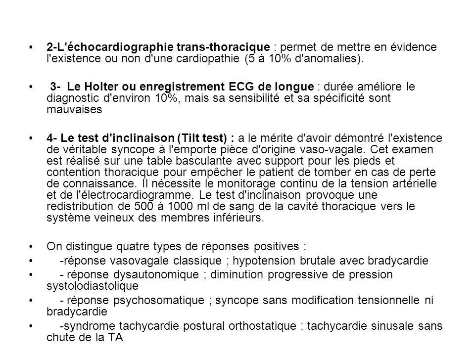 2-L échocardiographie trans-thoracique : permet de mettre en évidence l existence ou non d une cardiopathie (5 à 10% d anomalies).