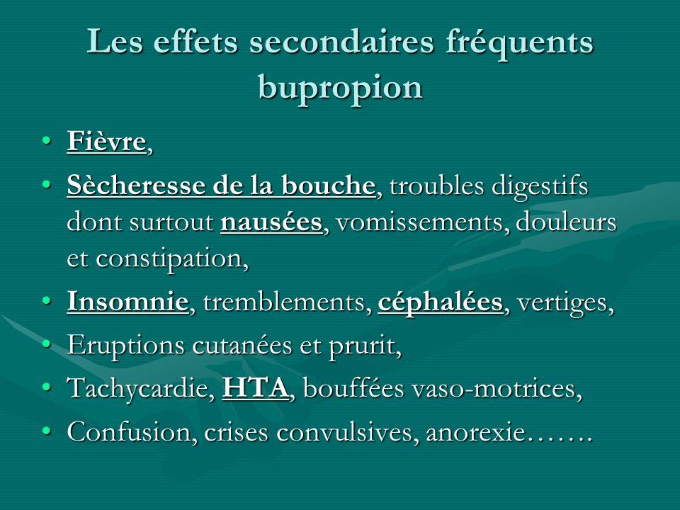 Les effets secondaires fréquents bupropion