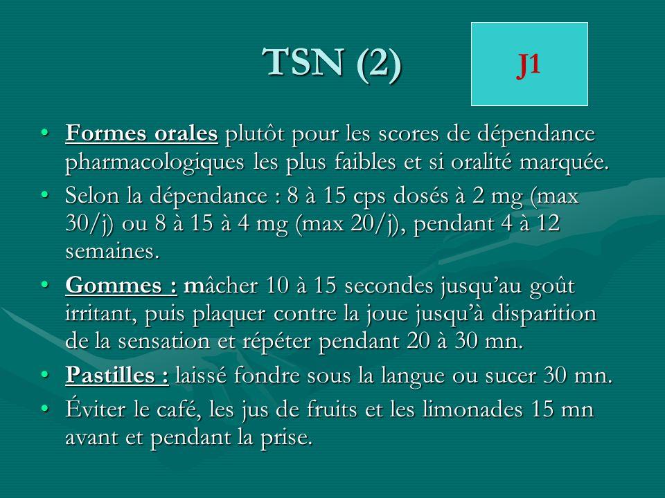 TSN (2) J1. Formes orales plutôt pour les scores de dépendance pharmacologiques les plus faibles et si oralité marquée.