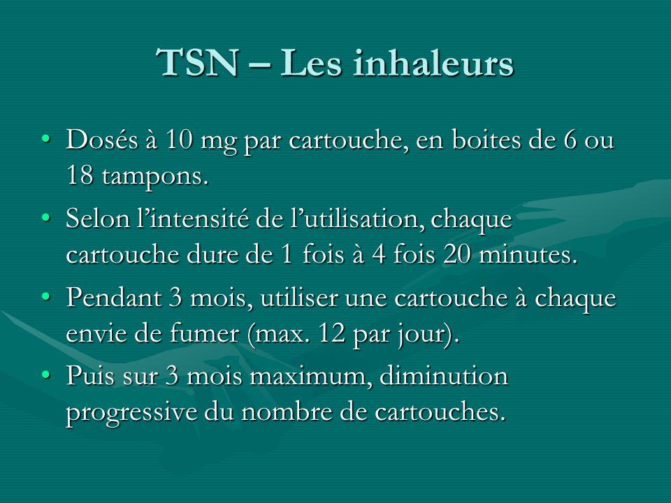 TSN – Les inhaleurs Dosés à 10 mg par cartouche, en boites de 6 ou 18 tampons.