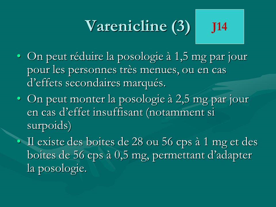Varenicline (3)J14. On peut réduire la posologie à 1,5 mg par jour pour les personnes très menues, ou en cas d'effets secondaires marqués.