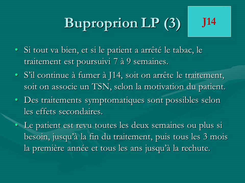 Buproprion LP (3) J14. Si tout va bien, et si le patient a arrêté le tabac, le traitement est poursuivi 7 à 9 semaines.