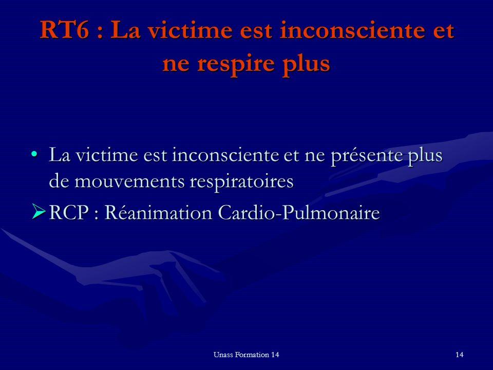 RT6 : La victime est inconsciente et ne respire plus