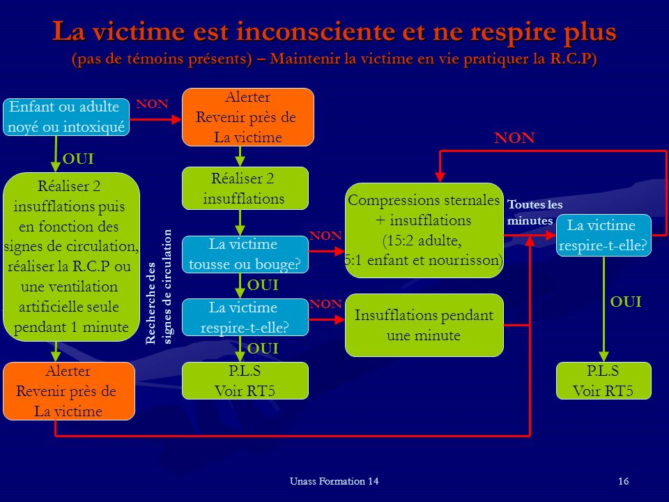 La victime est inconsciente et ne respire plus (pas de témoins présents) – Maintenir la victime en vie pratiquer la R.C.P)