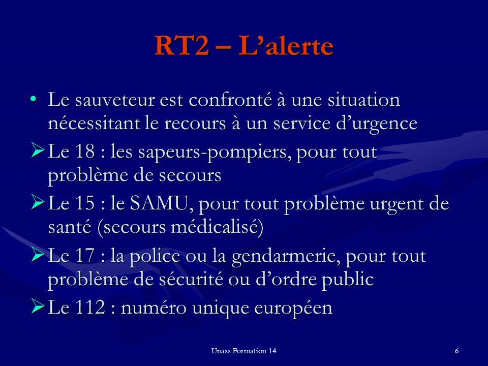 RT2 – L'alerte Le sauveteur est confronté à une situation nécessitant le recours à un service d'urgence.