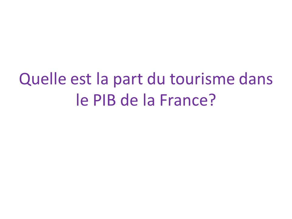 Quelle est la part du tourisme dans le PIB de la France
