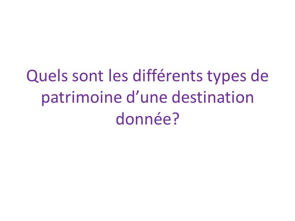 Quels sont les différents types de patrimoine d'une destination donnée