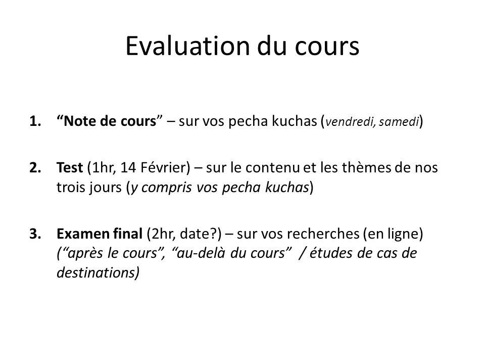 Evaluation du cours Note de cours – sur vos pecha kuchas (vendredi, samedi)