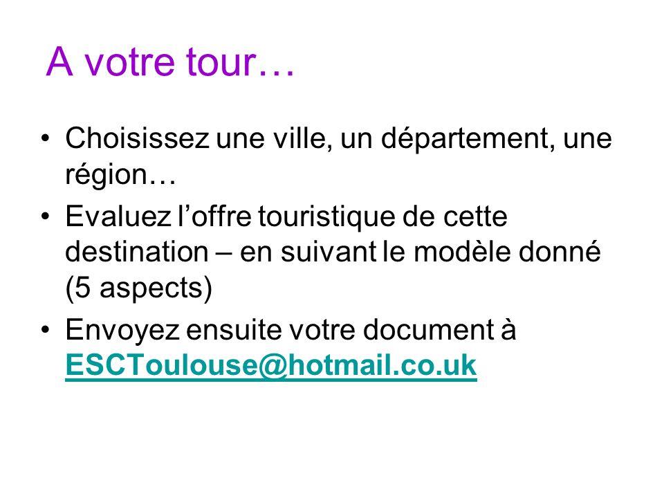 A votre tour… Choisissez une ville, un département, une région…