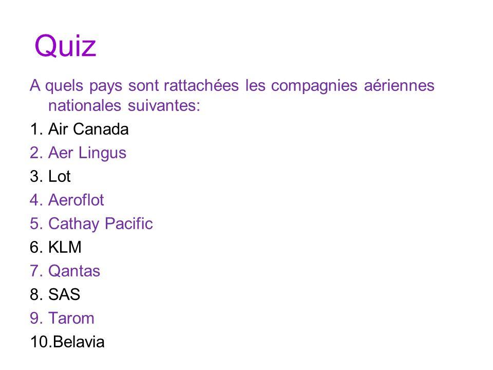 QuizA quels pays sont rattachées les compagnies aériennes nationales suivantes: Air Canada. Aer Lingus.