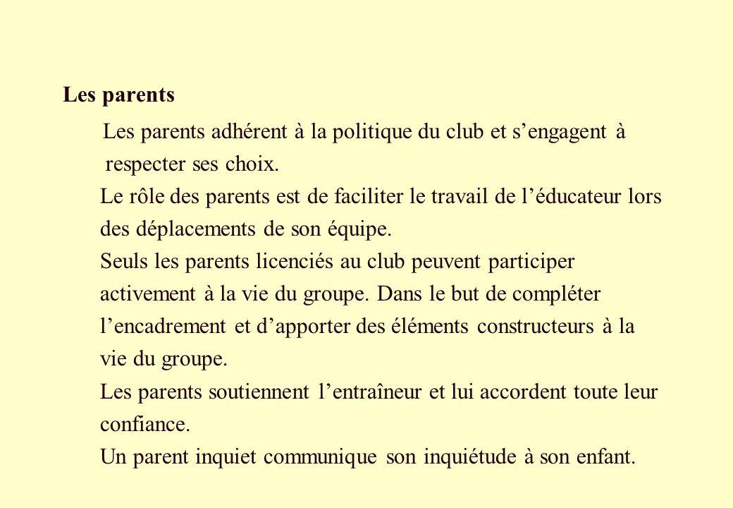 Les parentsLes parents adhérent à la politique du club et s'engagent à. respecter ses choix.