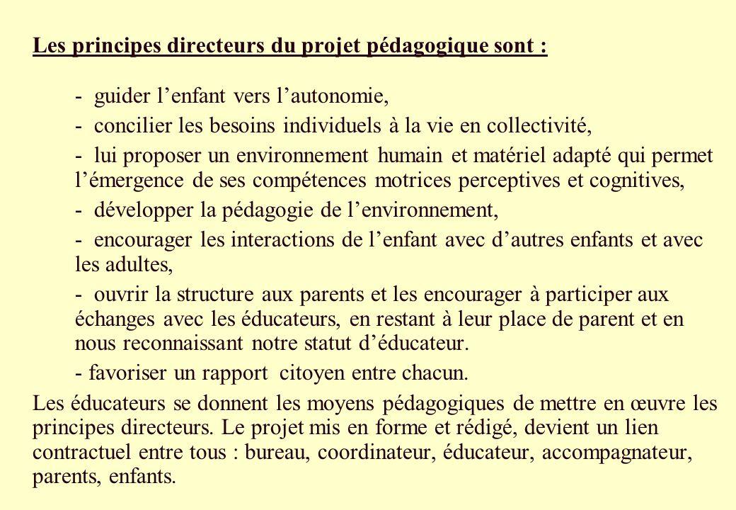 Les principes directeurs du projet pédagogique sont :