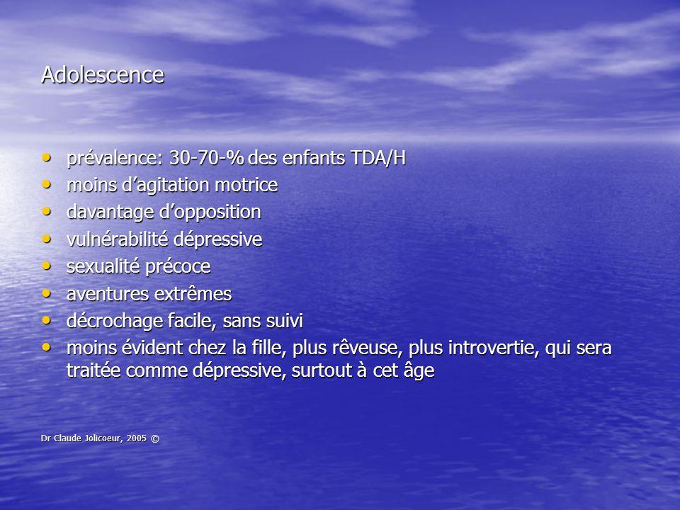Adolescence prévalence: 30-70-% des enfants TDA/H