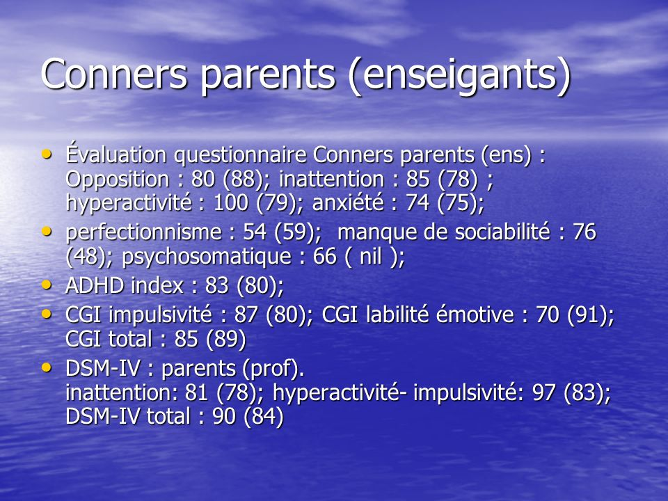Conners parents (enseigants)