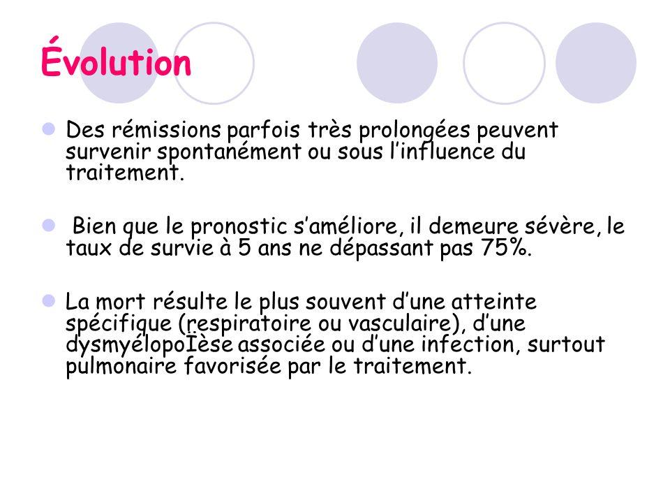 Évolution Des rémissions parfois très prolongées peuvent survenir spontanément ou sous l'influence du traitement.