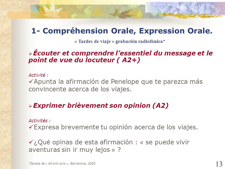 1- Compréhension Orale, Expression Orale.