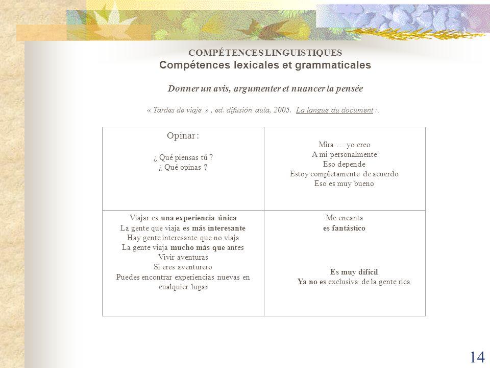 COMPÉTENCES LINGUISTIQUES Compétences lexicales et grammaticales Donner un avis, argumenter et nuancer la pensée