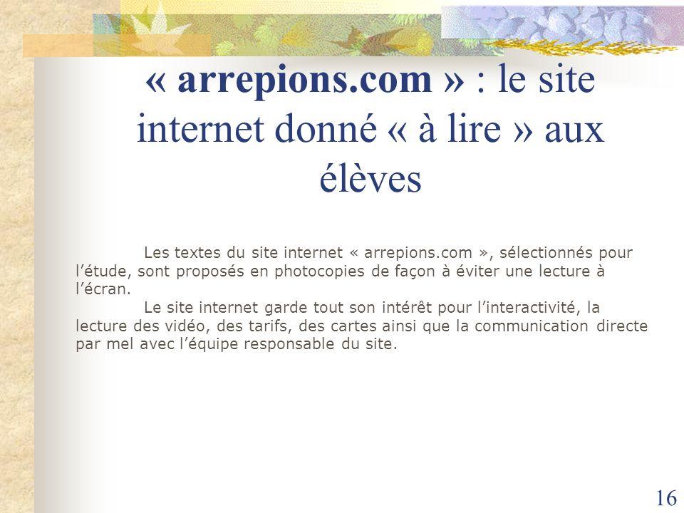« arrepions.com » : le site internet donné « à lire » aux élèves