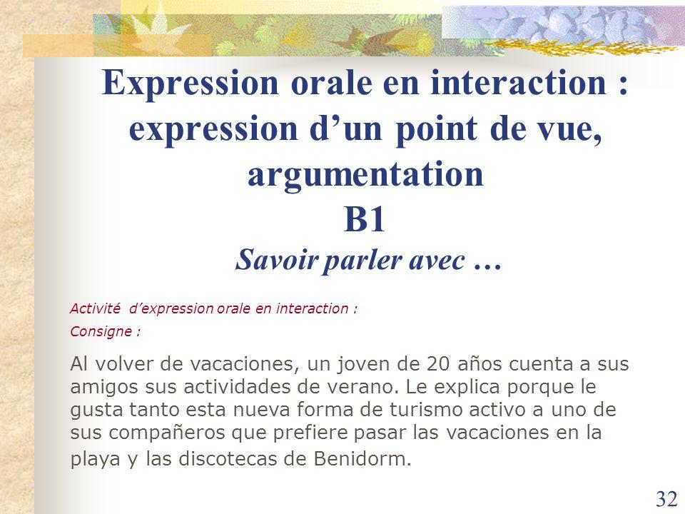 Expression orale en interaction : expression d'un point de vue, argumentation B1 Savoir parler avec …