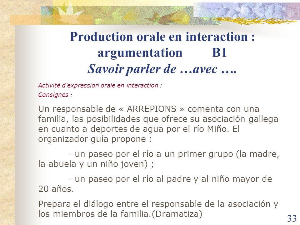 Production orale en interaction : argumentation B1 Savoir parler de …avec ….