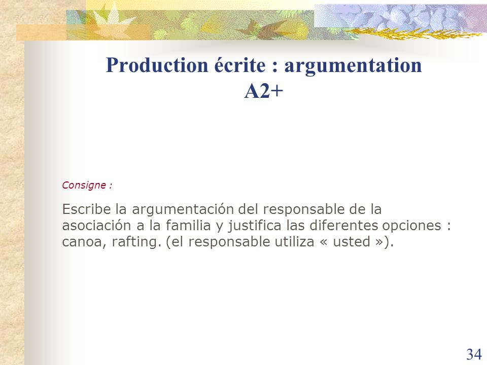 Production écrite : argumentation A2+