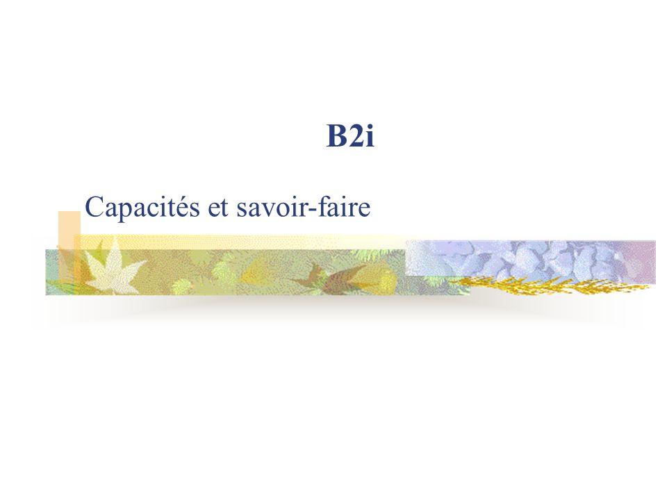 B2i Capacités et savoir-faire