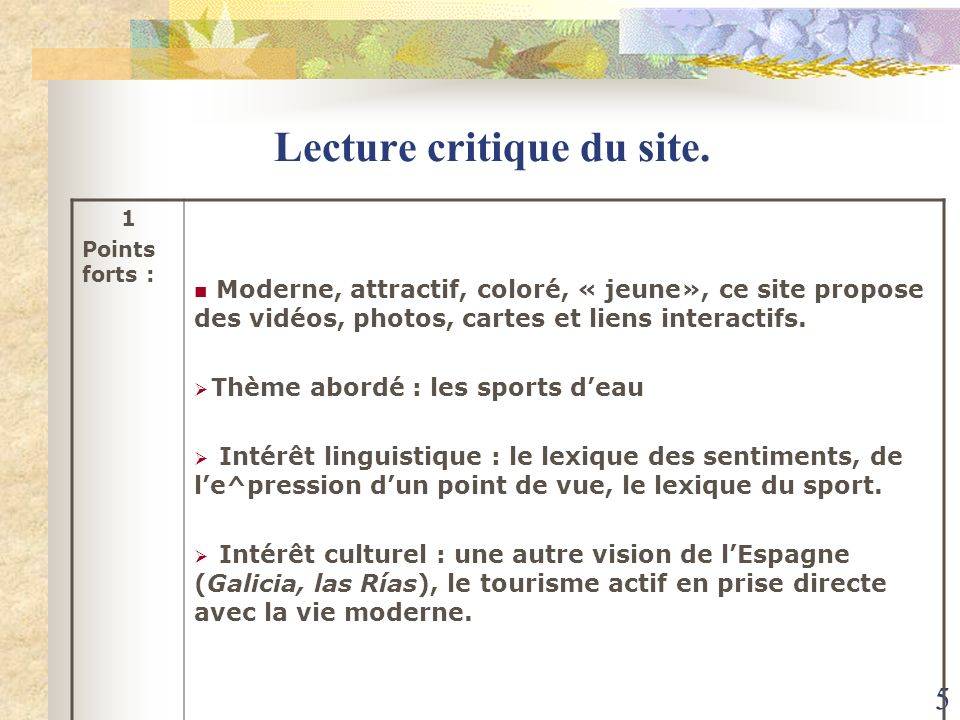 Lecture critique du site.