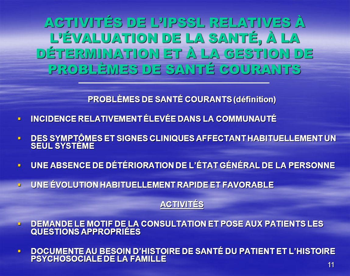 PROBLÈMES DE SANTÉ COURANTS (définition)