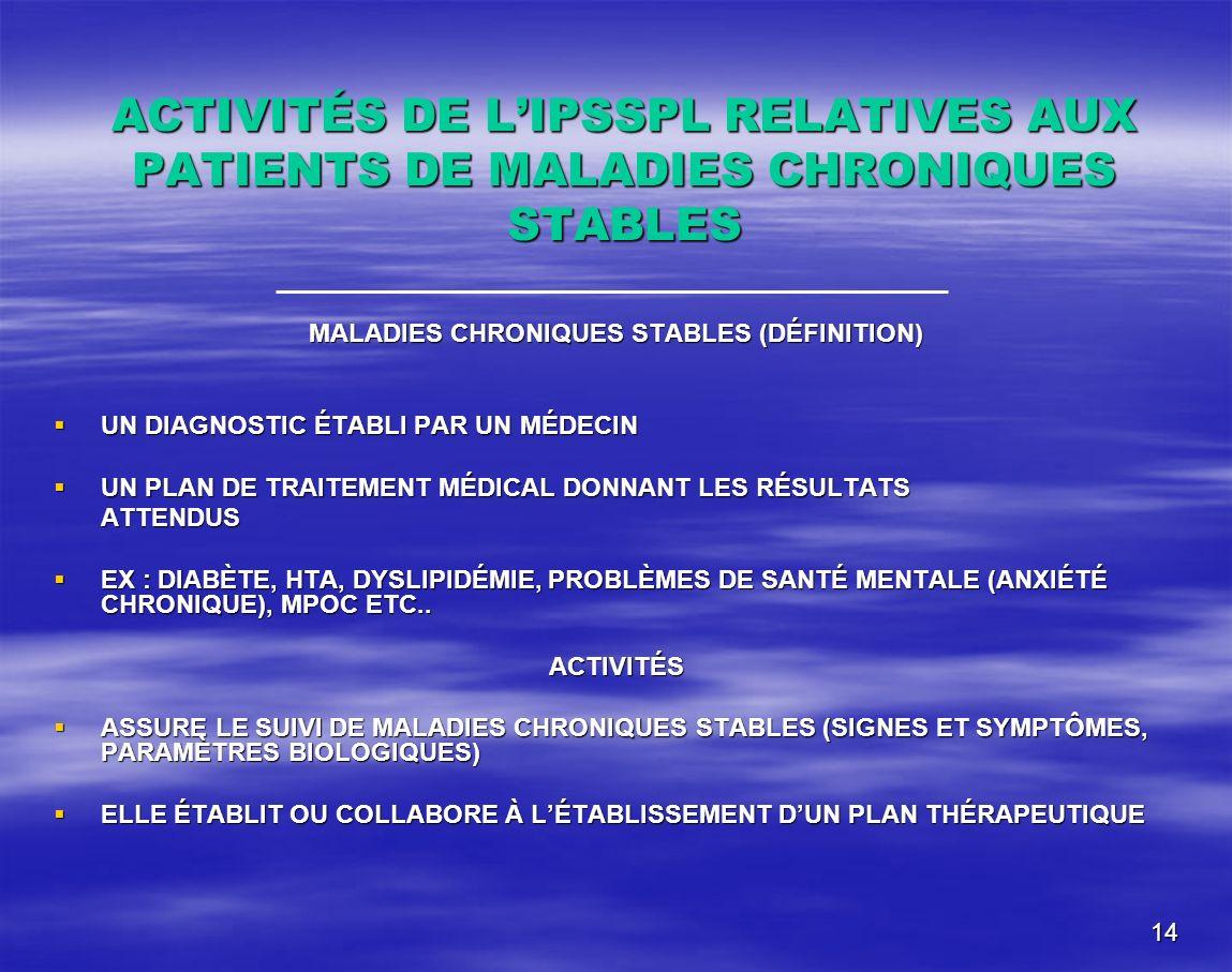 MALADIES CHRONIQUES STABLES (DÉFINITION)