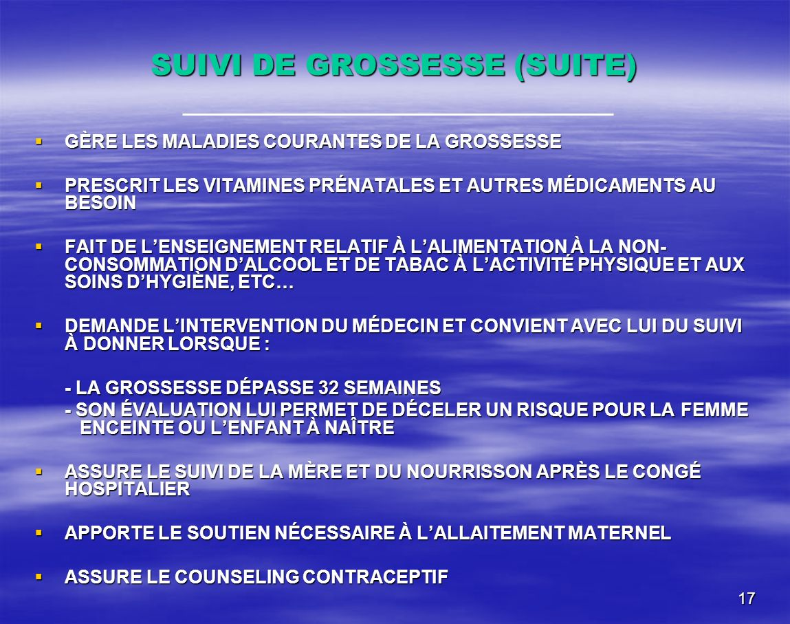 SUIVI DE GROSSESSE (SUITE)