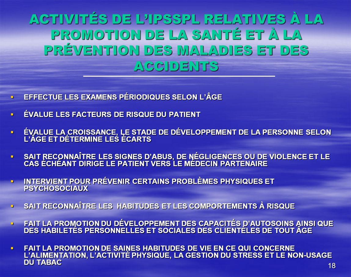 ACTIVITÉS DE L'IPSSPL RELATIVES À LA PROMOTION DE LA SANTÉ ET À LA PRÉVENTION DES MALADIES ET DES ACCIDENTS
