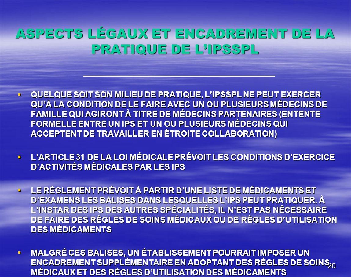 ASPECTS LÉGAUX ET ENCADREMENT DE LA PRATIQUE DE L'IPSSPL
