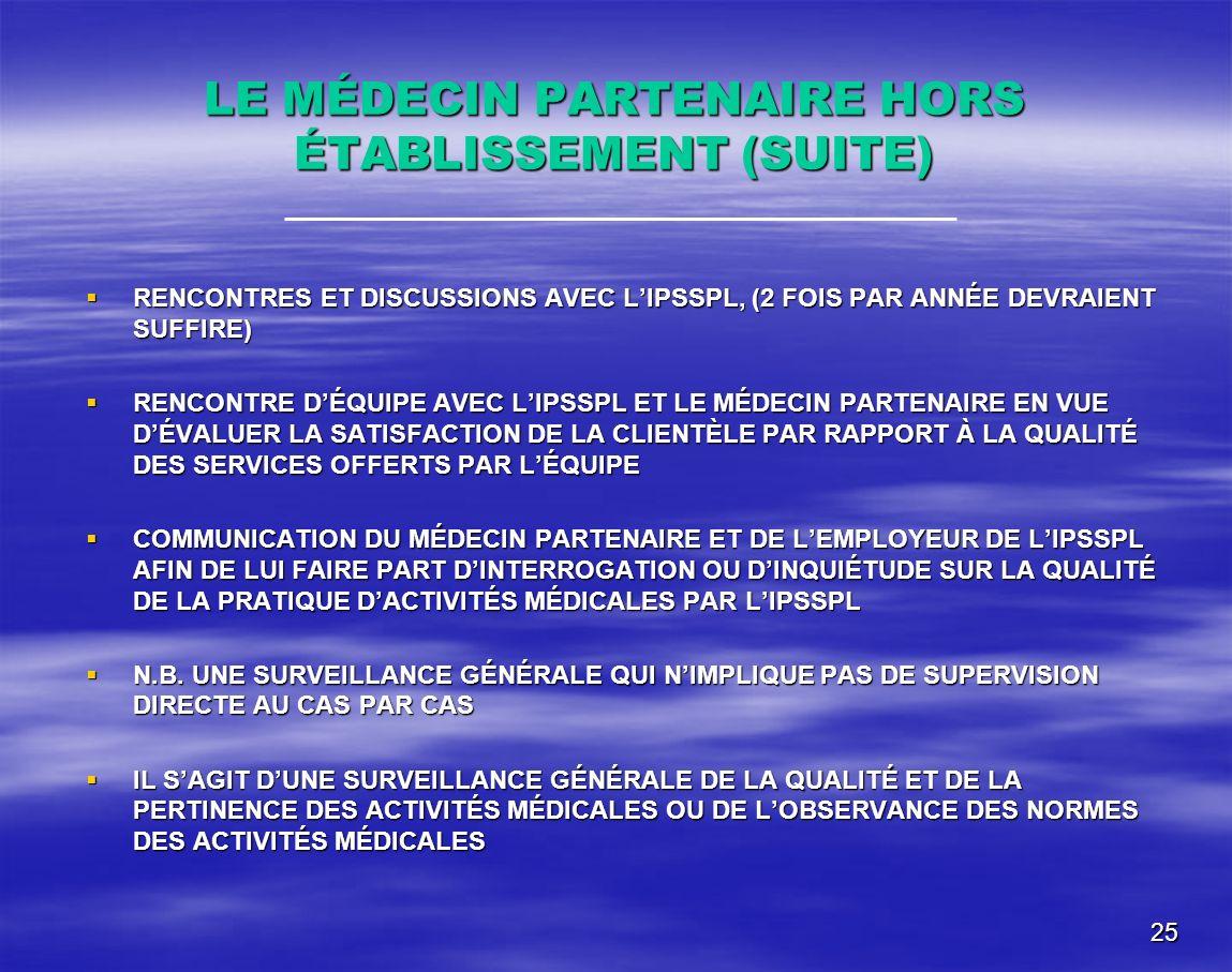 LE MÉDECIN PARTENAIRE HORS ÉTABLISSEMENT (SUITE)