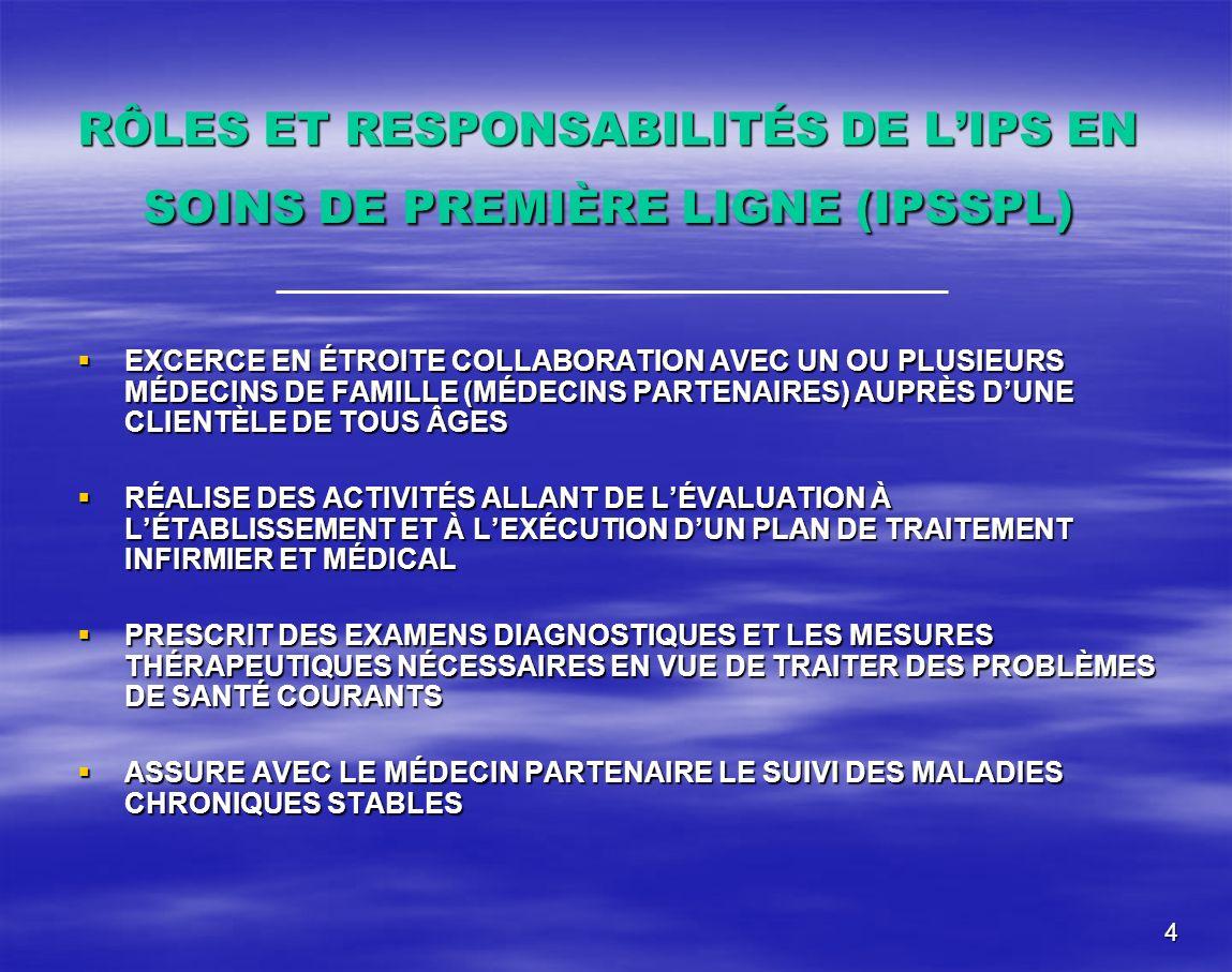 RÔLES ET RESPONSABILITÉS DE L'IPS EN SOINS DE PREMIÈRE LIGNE (IPSSPL)