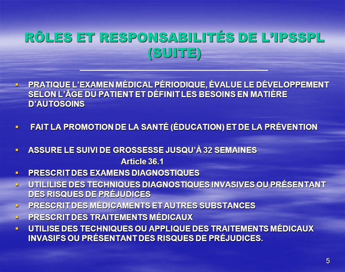 RÔLES ET RESPONSABILITÉS DE L'IPSSPL (SUITE)