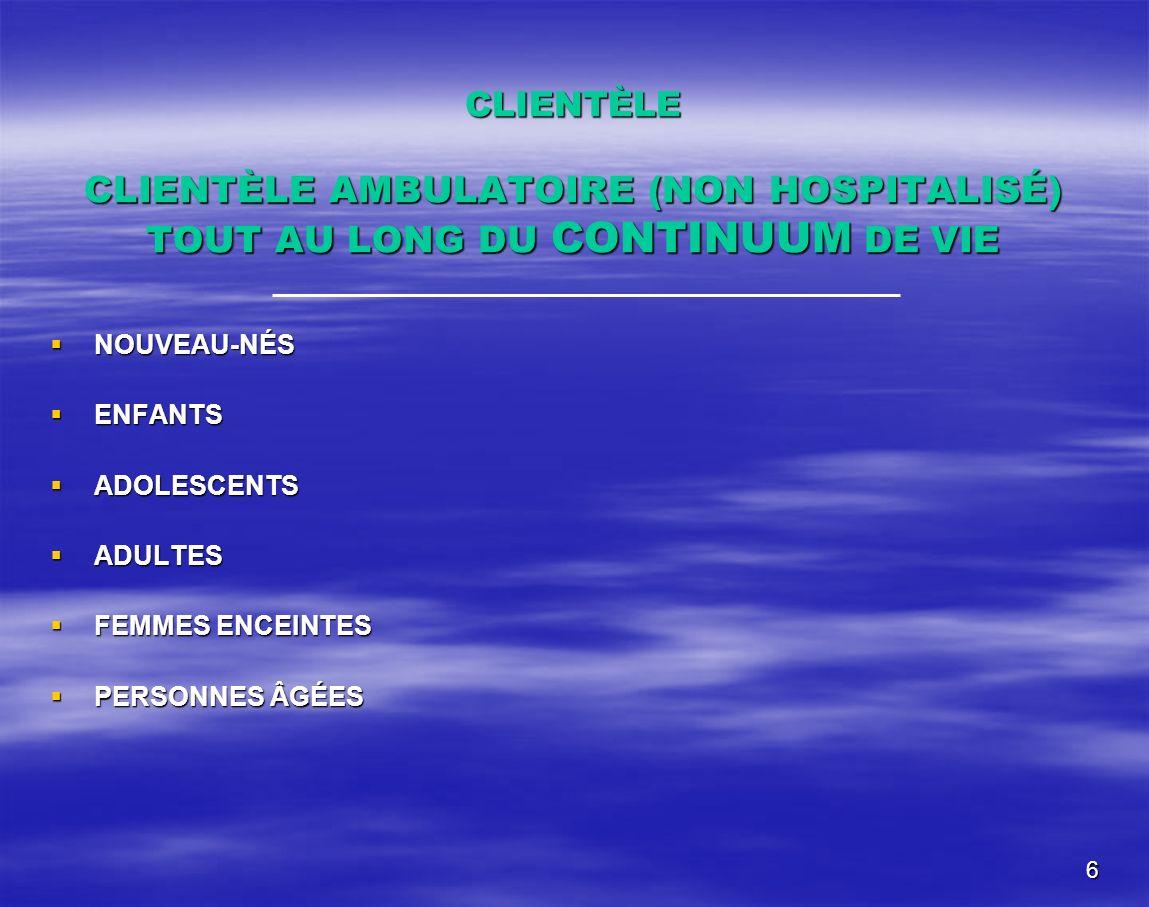 CLIENTÈLE CLIENTÈLE AMBULATOIRE (NON HOSPITALISÉ) TOUT AU LONG DU CONTINUUM DE VIE