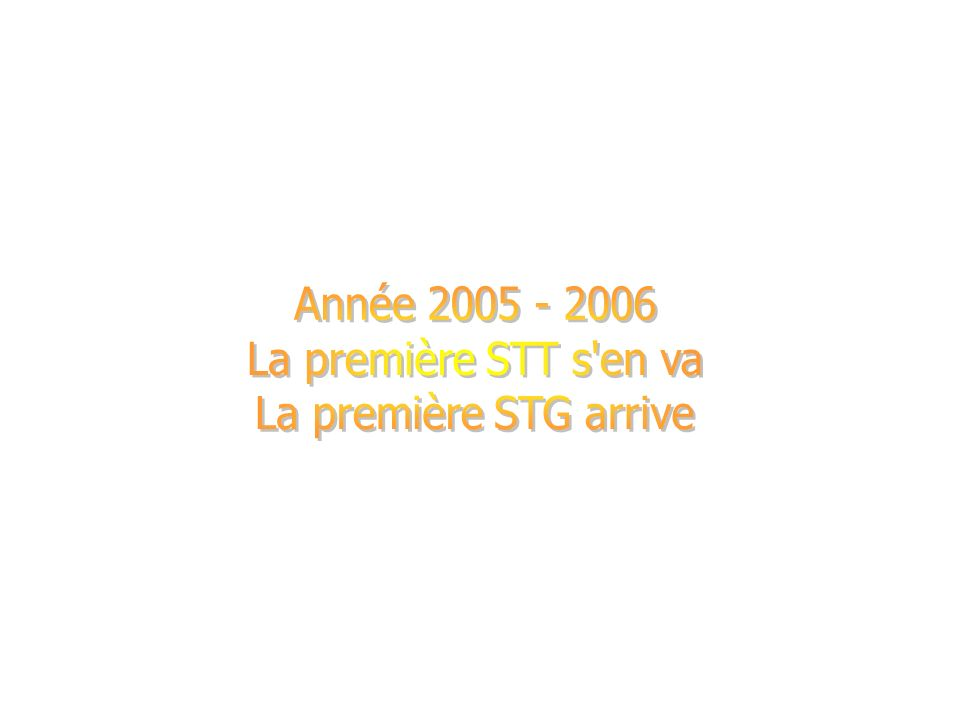 Année 2005 - 2006 La première STT s en va La première STG arrive