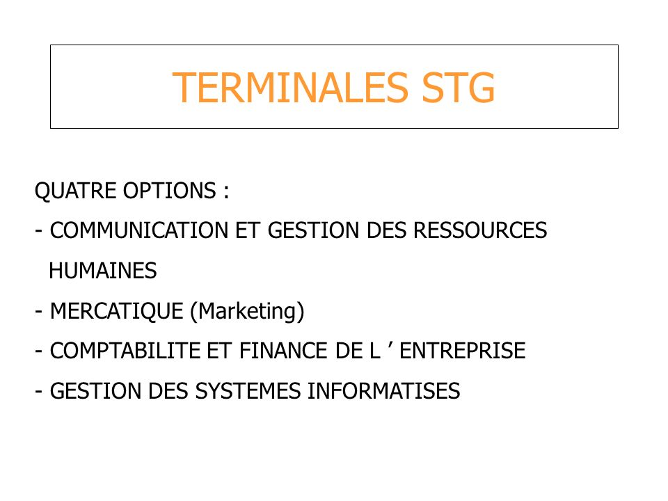 TERMINALES STG QUATRE OPTIONS :