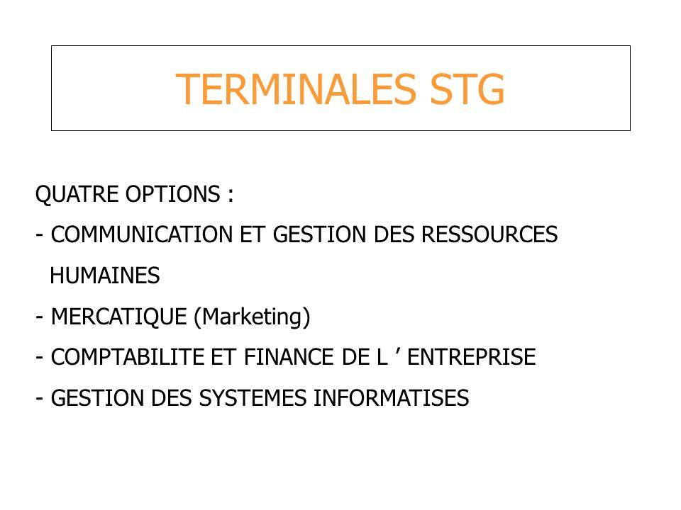 TERMINALES STG QUATRE OPTIONS :