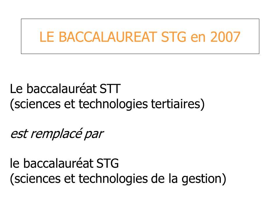 LE BACCALAUREAT STG en 2007 Le baccalauréat STT
