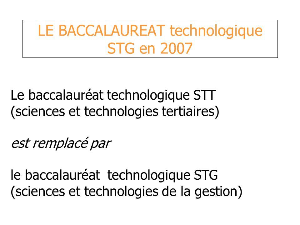LE BACCALAUREAT technologique STG en 2007